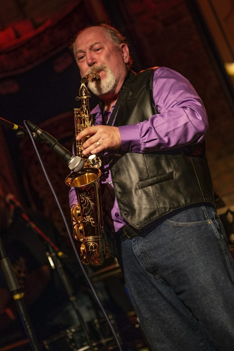 Frank Judd-of-Midnight-Rider-Band-plays-saxaphone-at-Reggie's-Chicago